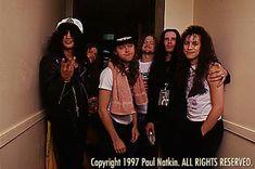 Slash with James Hetfield, Lars Ulrich and Jason Newsted,Kirk Hammett (Metallica) and Ian Astbury (The Cult)