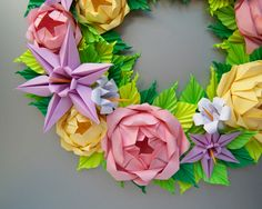 Baby Pink and Yellow Rose Origami Wreath