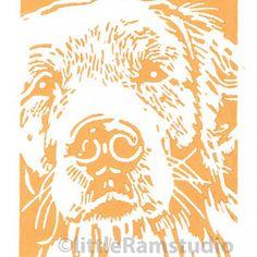 Golden Retriever Dog - Original Hand Pulled Linocut Print £15.00