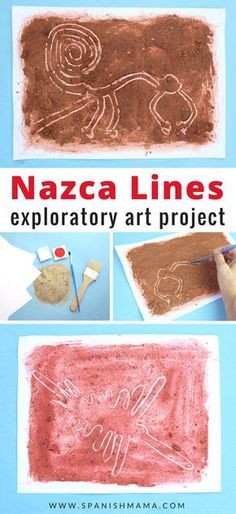 Nazca Lines Craft for Kids. An exploratory art project that teaches the geography and history of the Nasca Lines of Peru. A fun, hands-on way to learn Peruvian history for kids! Line Art Projects, Projects For Kids, Nazca Lines Peru, 7 Arts, Fun Craft, Craft Ideas, South American Art, American History, Art And Craft Videos
