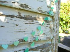 Sweetheart paper garland - 3 metre (9.8 ft) Three shades of mint green, engagement wedding party home decor. $9.00, via Etsy.