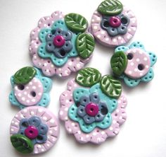 Button Dotted Flowers handmade polymer clay by digitsdesigns, $9.50