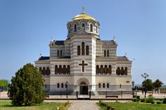 Chersonesus Cathedral - Saint Vladimir Cathedral. Neo-Byzatine Russian Orthodox cathedral, presumed place of St. Vladimir's baptism in 988. Near Sevastopol, Ukraine.