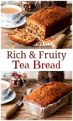 Packed full tea-soaked fruit, this tea bread is beautifully rich and moist. This moist and fruity tea bread is a British staple! Easy Cake Recipes, Baking Recipes, Sweet Recipes, Dessert Recipes, Loaf Recipes, Desserts, Breakfast Recipes, Breakfast Dishes, Tea Loaf