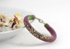 Lavender garden - Beaded Bracelet Bead Crochet Bracelet Lilac Purple Pink Green Pastel Multi-Colored Colorful Minimalist Beadwork Jewelry by LeeMarina on Etsy Crochet Beaded Bracelets, Bead Crochet Rope, Seed Bead Bracelets, Gemstone Bracelets, Bangle Bracelets, Bangles, Wedding Bracelets, Seed Beads, Beads Pictures