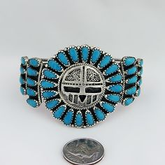 Genuine Navajo Native American Handcrafted Unisex Sunface Turquoise Sterling Silver Cuff Bracelet, BR8
