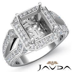 Halo Diamond Engagement Ring Emerald Semi Mount Platinum 950 Split Shank 1 4ct | eBay