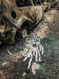 Melting wheels from fires in greece