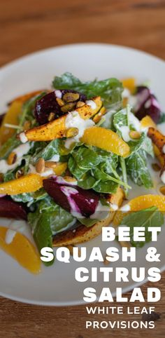 Easy + Quick, Healthy Salad Recipe: Beet, Squash, Citrus Salad with Lime Yogurt and Roasted Pistachios