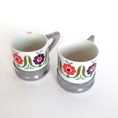 PAIR of Vintage Espresso Coffee Floral  Porcelain with Metal Handle by VintageCommon on Etsy