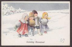 X2890 New Year Feiertag postcard, BKWI 3102-3, Used 1915, Children in muffs