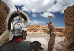 A Roman Legionary Optio stands guard in the deserts of Mesopotamia/Syria. This Optio would have lived during the first century ad, the assumption being based off the deposition date of the equipment he wears. Ancient Egyptian Art, Ancient Aliens, Ancient Rome, Ancient History, Ancient Greece, Roman Legion, Archaeology News, Medieval World, Roman Soldiers