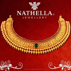 Gold Antique Choker Necklace From Nathella, Gold Necklace Designs From Nathella. Jewelry Design Earrings, Gold Earrings Designs, Gold Jewellery Design, Necklace Designs, Gold Temple Jewellery, Gold Mangalsutra Designs, Gold Jewelry Simple, Antique Earrings, South India