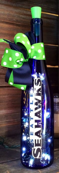 Seattle Seahawks Lighted Wine Bottle by BottlesbyJanice on Etsy, $30.00