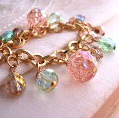 Peach Tea summer jewelry charm bracelet
