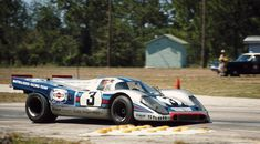 Vic Elford at speed at Sebring in 1971 on the way to winning with teammate Gerard Larrousse./Photo by Pete Lyons courtesy of Porsche