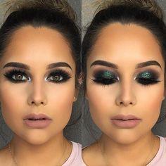 Love love love this look! 😍✨ #makeup #makeupinspiration #makeover #eyemakeup #credittotheowner #smokyeye #green #glitter #glam #glow #love #mua #nude #lips #brows #lashes #liner #hudabeauty #maryhadalittleglam #eyelive4beauty #waketocakeup143 #hairmakeupdiary #wakeupandmakeup #peachyqueenblog #makeupartist #makeupblog