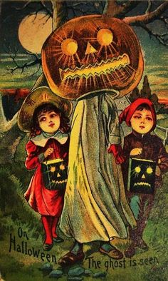 A pumpkin man leading kids to their death… | 13 Odd And Disturbing Vintage Halloween Postcards