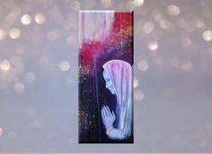 Original Gemälde Das Gebet 20x50 cm, Gebet Bild, Gebet Gemälde, betende Frau Gemälde, spirituelle Kunst von TerraSomniaAngels auf Etsy Lava Lamp, Figurative, Table Lamp, Wall Art, Etsy, Home Decor, Woman Painting, Expressionism, Woman Style