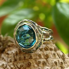 Silver Ring with Blue Topaz - Rings