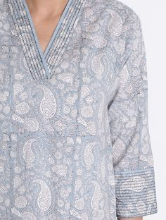 Buy Grey-Ivory Block Printed Cotton Kurta with Pockets by Jaypore Online at Jaypore.com