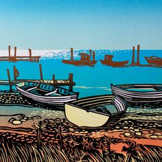'Beached Boats In The Sun' By Printmaker Rob Barnes. Blank Art Cards By Green Pebble. www.greenpebble.co.uk