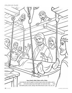 Jesus Heals Paralytic Coloring Page Miracles Of Jesus Healed Paralyzed Man Coloring Page Netart - Metello Sunday School Projects, Sunday School Activities, Sunday School Lessons, Preschool Bible, Bible Activities, Bible Lessons For Kids, Bible For Kids, Jesus Heals Paralyzed Man, Jesus Coloring Pages