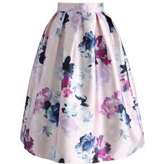 Chicwish My lovely Bouquet Printed Midi Skirt ($42) ❤ liked on Polyvore featuring skirts, pink, box pleat midi skirt, multicolor skirt, pink flower skirt, mid calf skirts and calf length skirts