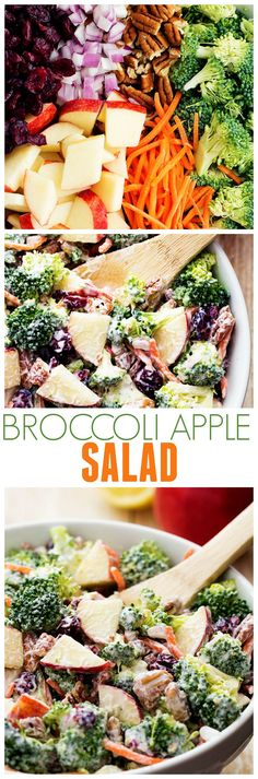 This Broccoli Apple Salad will be one of the best salads that you make! So many amazing flavors and textures and the creamy dressing on top is TO DIE for!: This Broccoli Apple Salad will be one of the best salads that you make! Vegetarian Recipes, Cooking Recipes, Healthy Recipes, Cooking Ideas, Vegetarian Broccoli Salad, Seafood Recipes, Healthy Salads, Healthy Eating, Fruit Salads