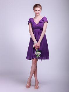 ruffled cap sleeve chiffon bridesmaid dress