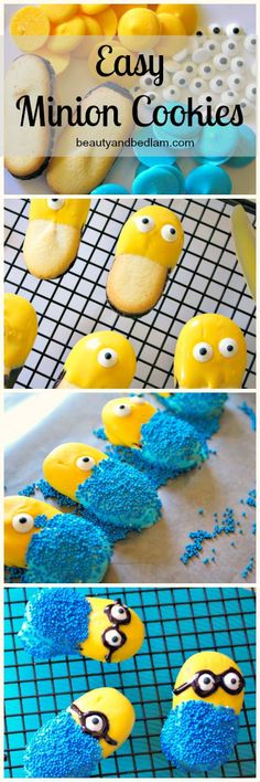 Adorable and easy Minion Cookies using Milanos. SO CUTE!!! Love that they are NO bake. They are super easy to make.