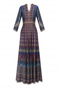 Blue Digital Print and Sequinned Vrinati Jacket #anitadongre #festiveseason #shopnow #ppus #happyshopping