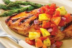 Grilled Marinated Chicken with Tomato-Fruit Salsa recipe on Food52