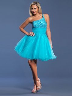 A-line One Shoulder Paillette Sleeveless Knee Length Organza Cocktail Dresses Homecoming Dresses