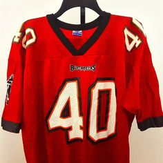 ... Mike Alstott 40 Tampa Bay Buccaneers NFL Mens Large Red Mesh Jersey  Champion Vintage ... c979a322e