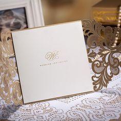 50 Vintage Golden Color Laser Cut Wedding by WishmadeCards on Etsy very elegant.