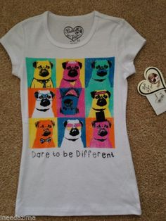 Bella du Tour Pug shirt NEW glittery Dare to be Different