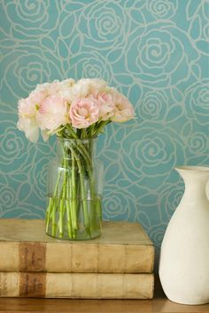 Pretty floral wall stencil with a modern feel. Damask Stencil Rockin' Roses | Royal Design Studio