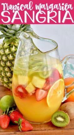 This Tropical Margarita Sangria Recipe combines sangria and margaritas in the most beautiful delicious cocktail!