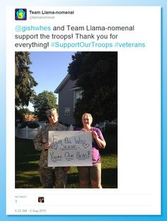Item #30: Support our troops. More than 10% of veterans that return from war  suffer post traumatic stress syndrome. Tweet or post on FB or Instagram  an image of you next to an armed serviceman, with you holding up a sign  with a positive message or a message of kindness or gratitude to them  and soldiers worldwide. Submit the screen cap of your post.