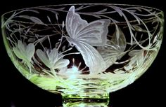Butterfly Dance Bowl * Hand engraved Spring Green Glass Bowl by Catherine Miller of Catherine Miller Designs *Technique-Stone wheel * Pilgrim Glass