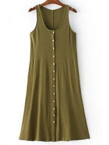 Sleeveless Casual Scoop Neck Single-Breasted Dress