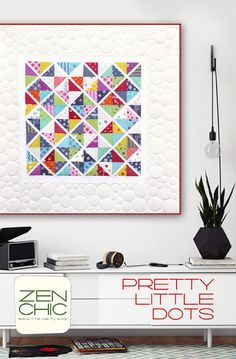 This is a happy modern Quilt, made from a dotty fabric collection (HEY DOT for Moda). You need 2 Charm Packs plus some light background fabric. The pattern is PRETTY LITTLE DOTS by ZEN CHIC, download your instant PDF version.