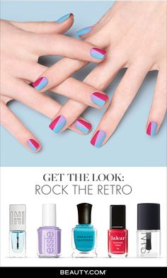 Get 1950s-style fingers starting with a perfectly smooth base then use a bright pink, a bold blue and a pretty purple. Find out how at Beauty.com