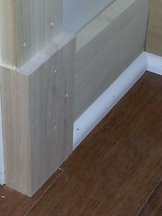 I began trimming a house with utilizing plinth blocks for the shoe molding return.  The pictures demonstrate my progress.
