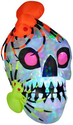 Light Show Skull with Spiders-Kaleidoscope | Christmas Light Express