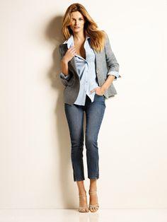 1.2.3 Paris -Veste Galice Bis 149€ Chemise Laetitia 69€ Jean Davis 79€ Chaussures Edith 129€ #lin #chambray #denim #bleu #printemps #ete #mode #123