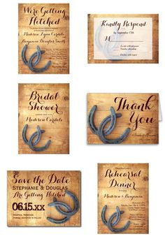 """Double Horseshoe Wedding Invitation Set on distressed barn wood for a country western cowboy wedding"""
