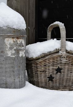 Snow covered basket.
