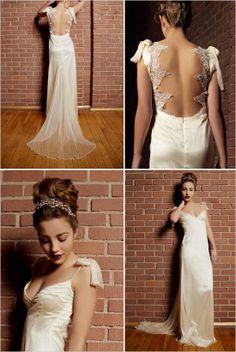 Open backed wedding gown by Yalda Ashrafi http://www.weddingchicks.com/2014/02/11/1920s-1970s-inspired-collection-by-yalda-ashrafi/